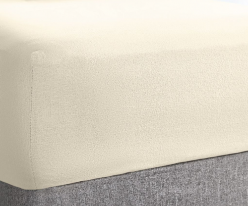 "Super Soft Stretch Terry Towel 10"" Deep Fitted Sheet, All Sizes, Cream Colour"